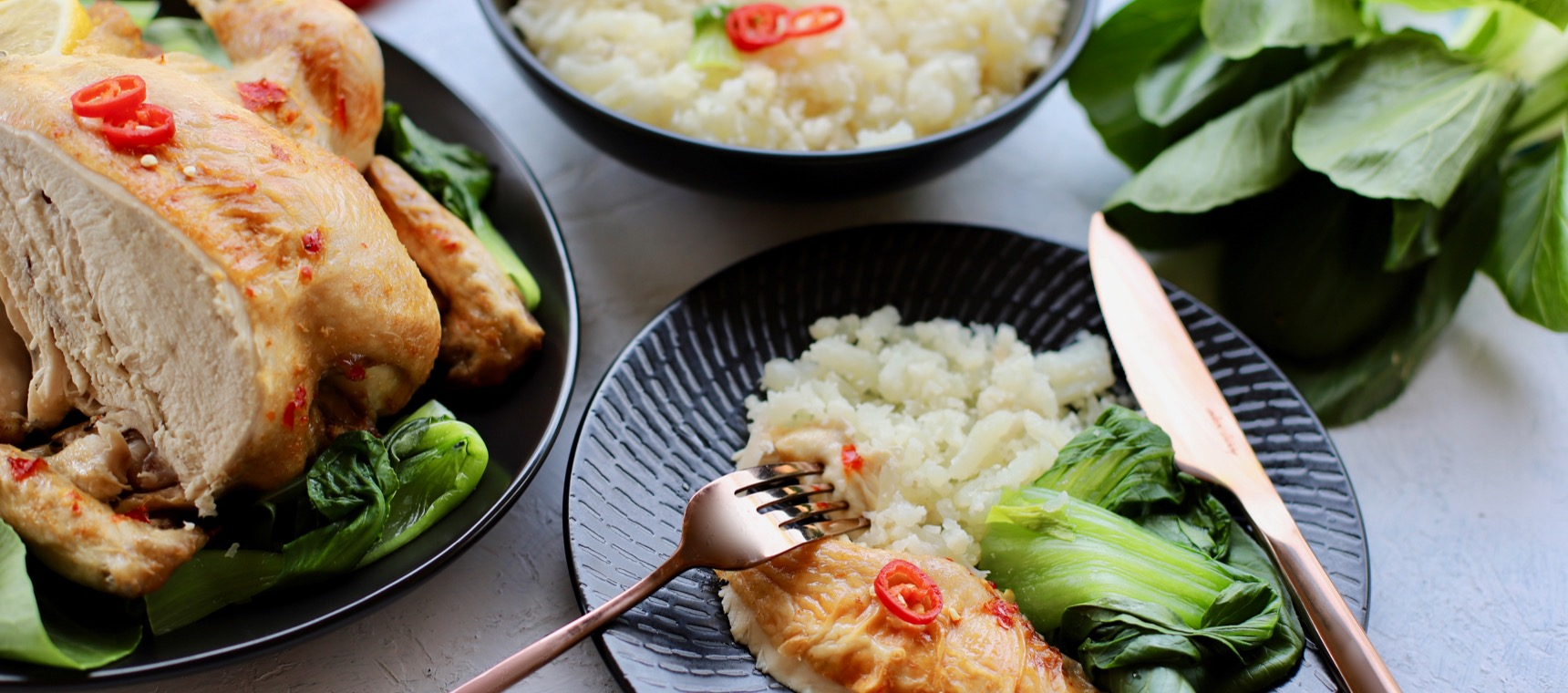 Asian Chicken with Cauliflower Rice and Greens