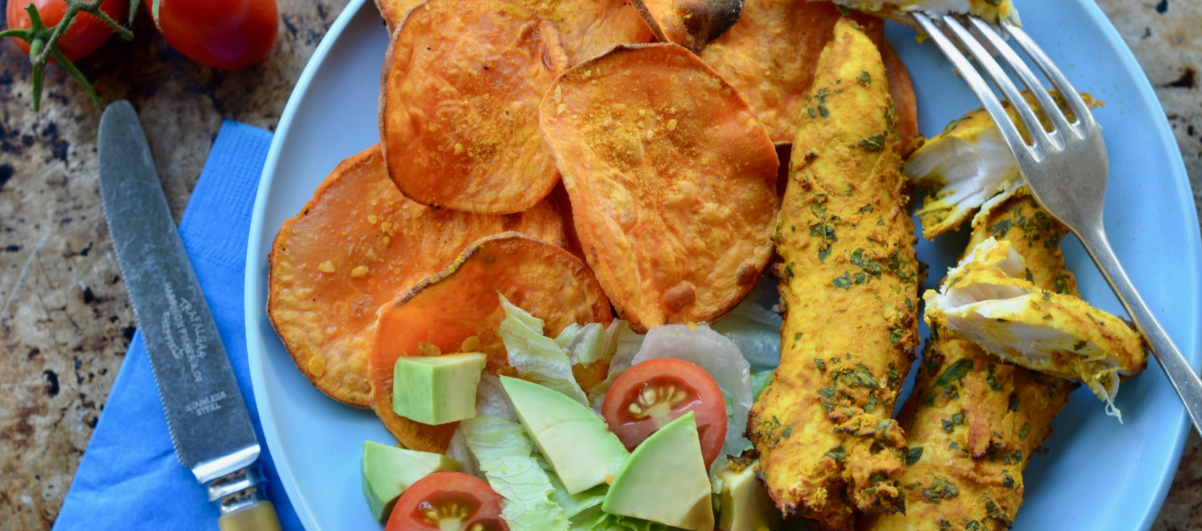 BBQ Turmeric Chicken and Sweet Potato Chips