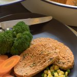 Cheesy Chicken Meatloaf and Steamed Veggies