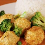 Chicken Curry Meatballs with Rice