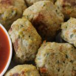 Chicken and Vegetable Meatballs with Roasted Capsicum Dipping Sauce