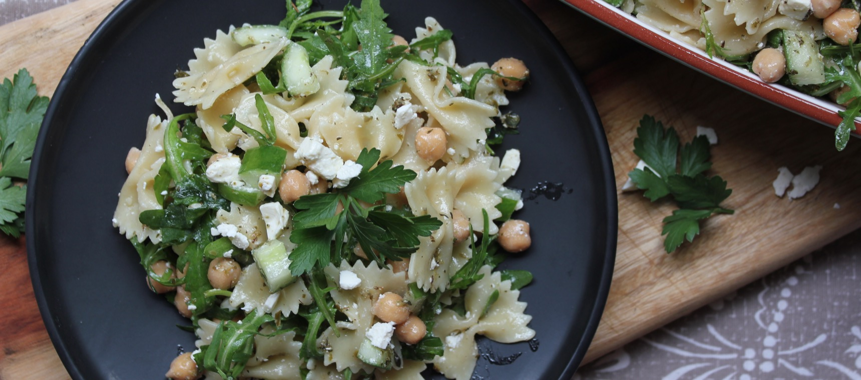 Chickpea, Rocket and Feta Pasta Salad