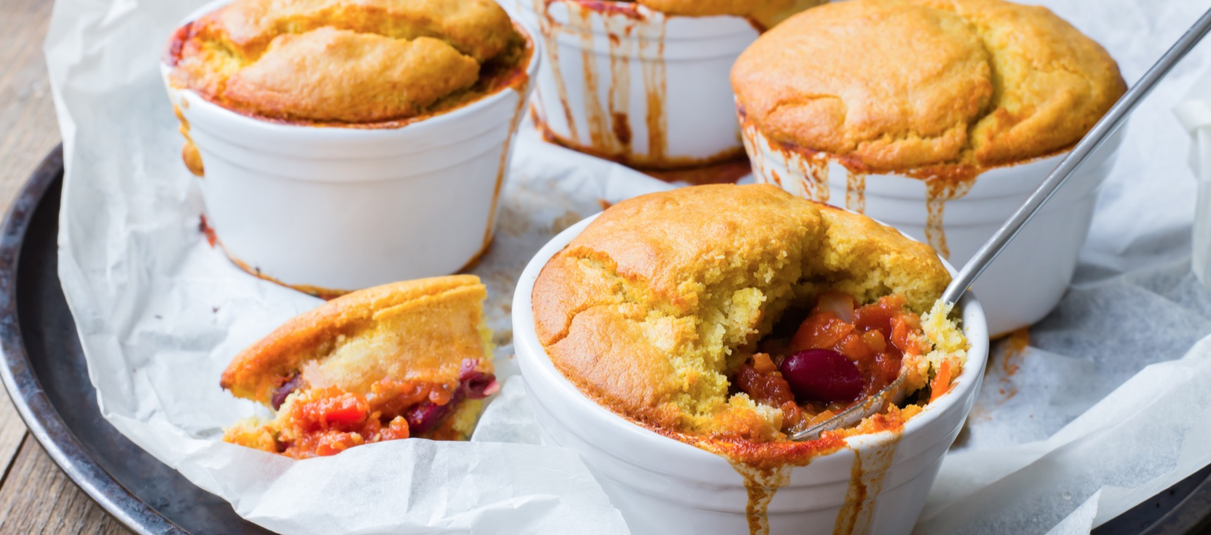 Chilli Pot Pies with a Corn Bread Crust