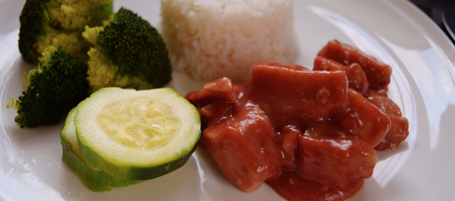 Chinese Plum Pork with Steamed Greens and Rice