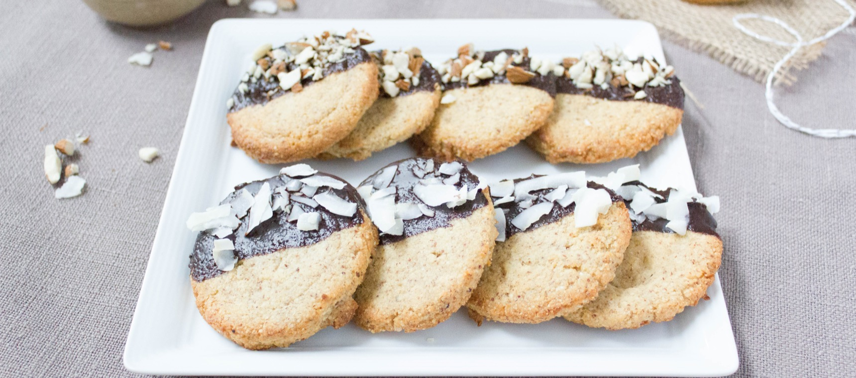 Choc Dipped Coconut Almond Cookies