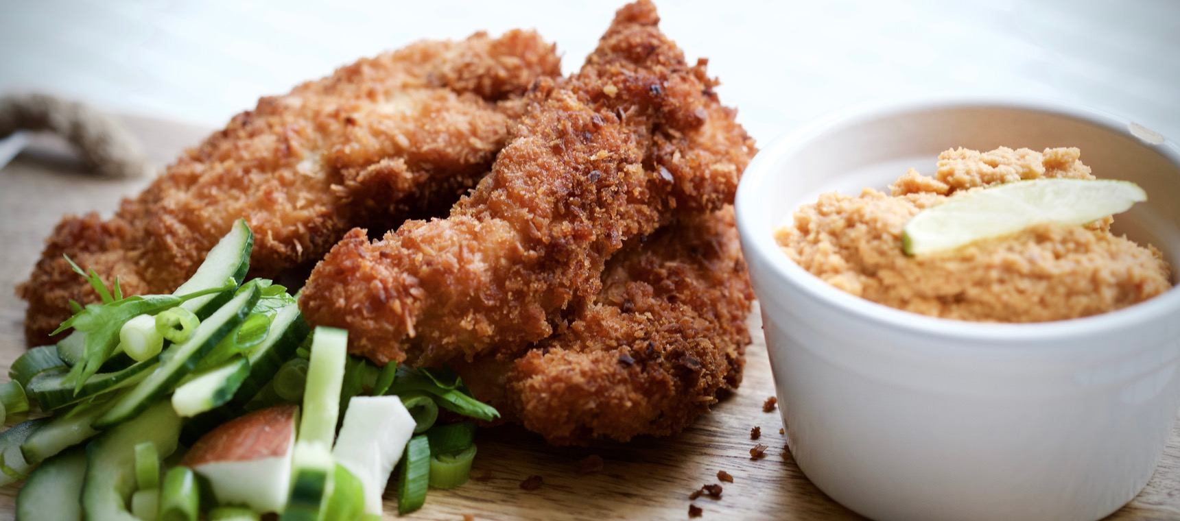 Coconut Chicken Fingers with Peanut Dipping Sauce