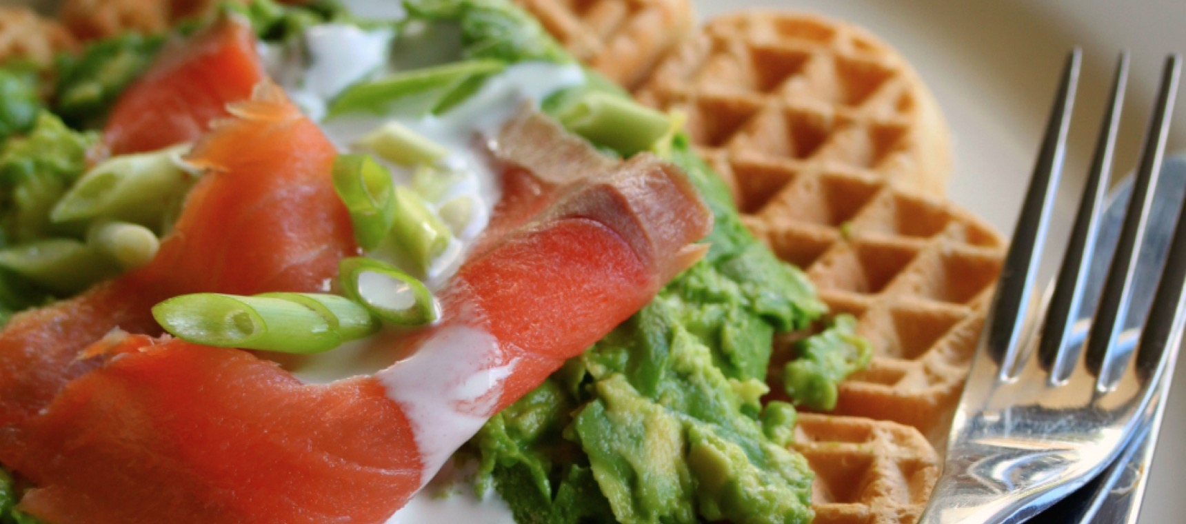 Coconut Waffles with Smoked Salmon and Smashed Avocado