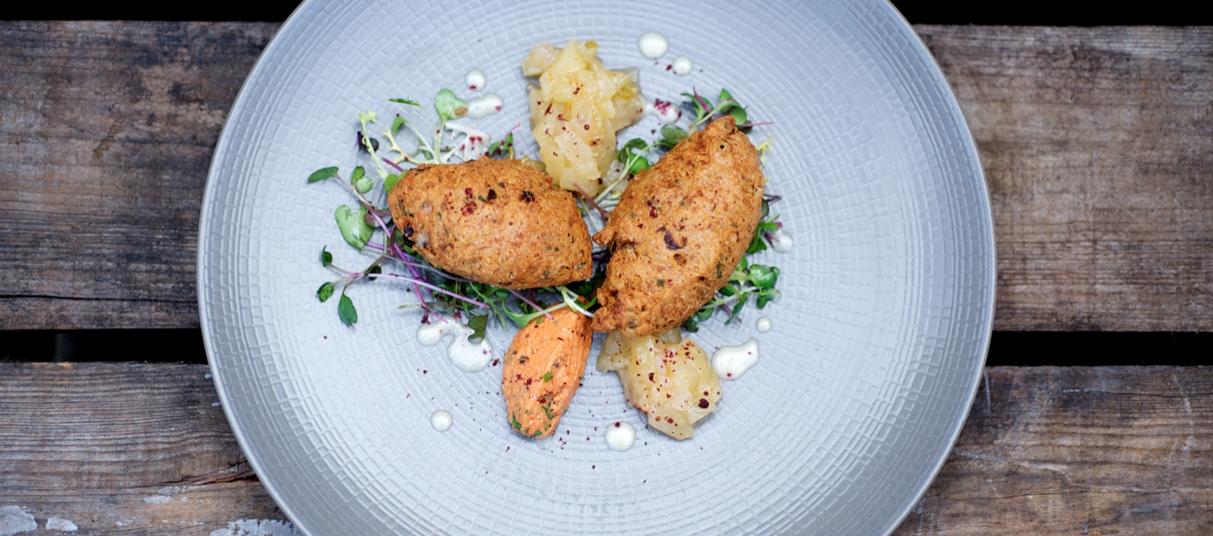 Crab Beignets with Fiery Apple Chutney