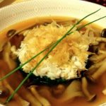 Crab and Spinach Ohitashi with Mixed Mushrooms