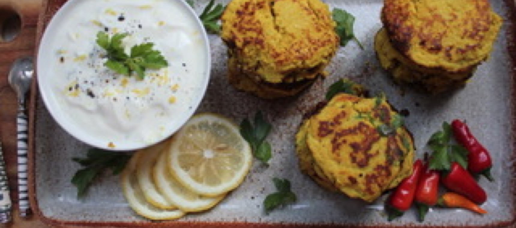 Curried Cauliflower Fritters and Yoghurt Dipping Sauce