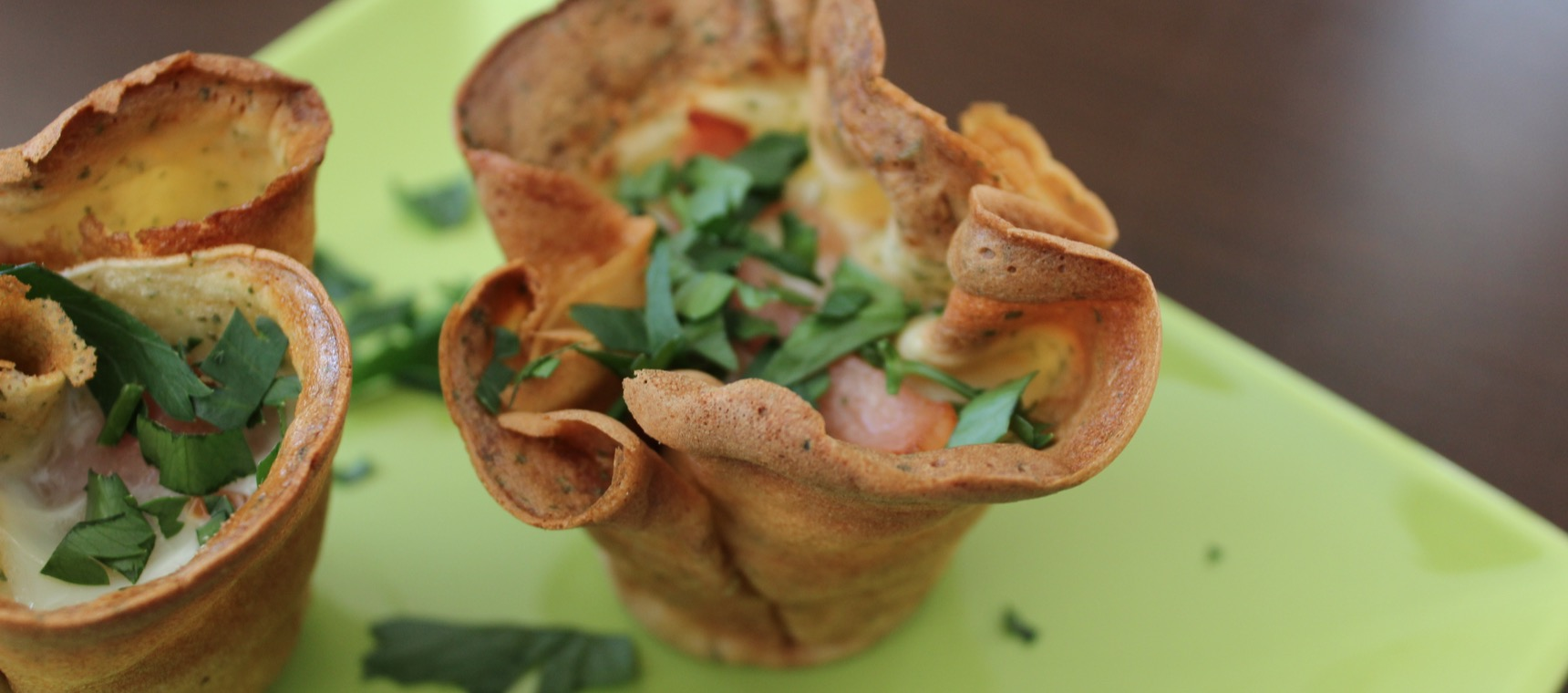 Egg and Bacon Crêpe Cups