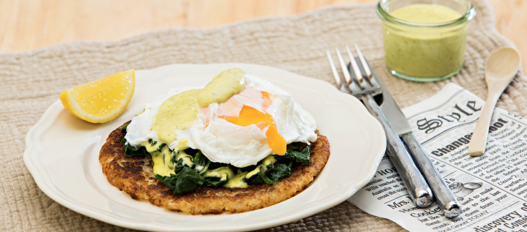 Eggs Florentine with Potato Rosti and Simple Hollandaise