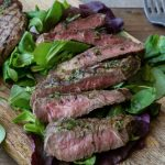 Grilled Rib Eye with Garlic Herb Butter