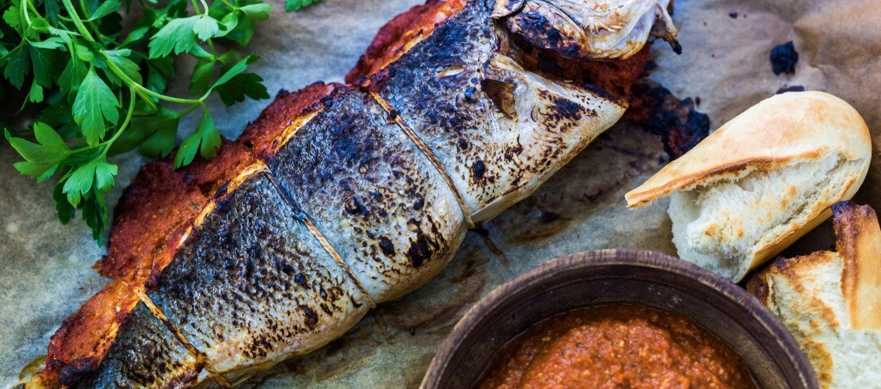 Grilled Seabass stuffed with Red Pepper Paste