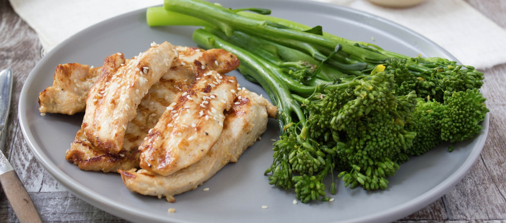 Grilled Sesame Soy Chicken with Broccolini