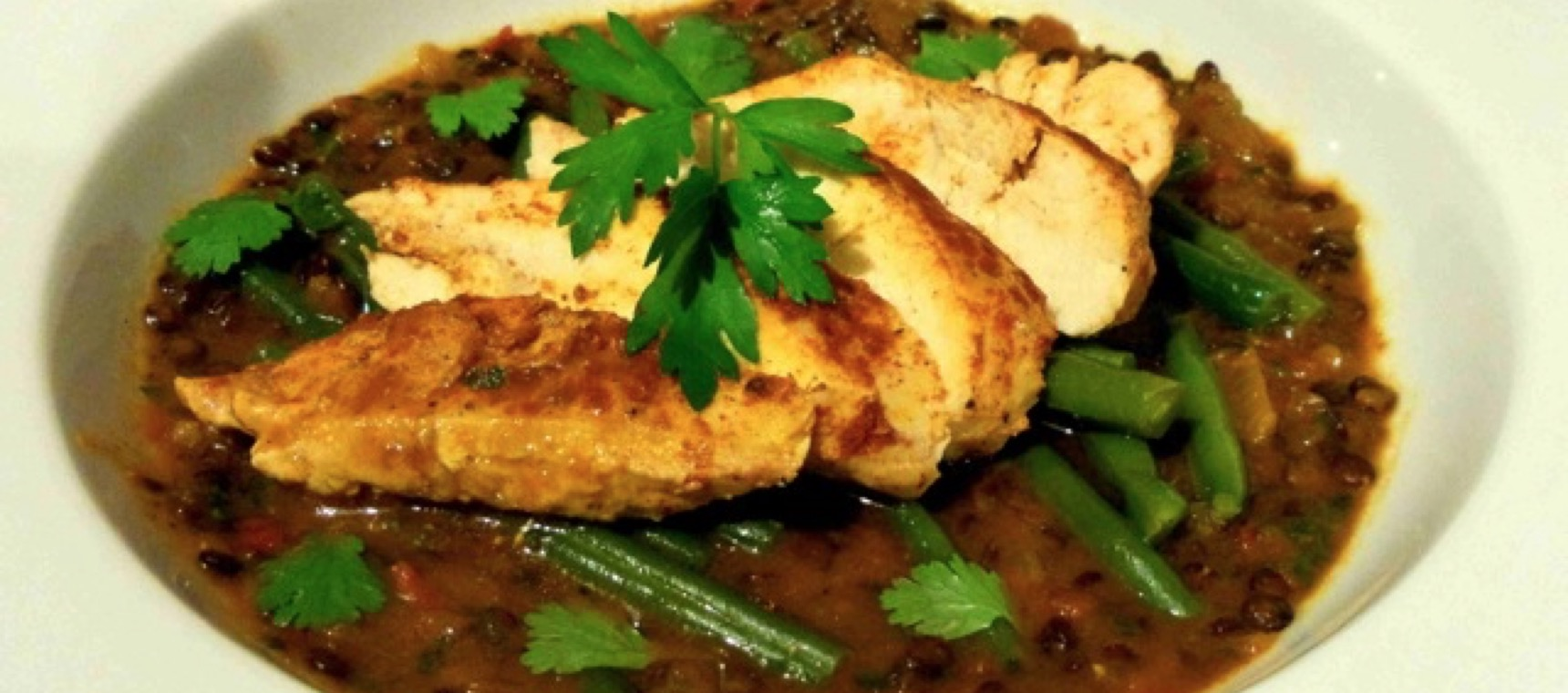 Harissa Chicken, Spiced Lentil & Tomato Stew with Steamed Green Beans