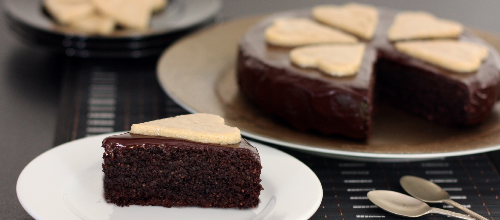 Healthy Chocolate Cake with Cashew Hearts