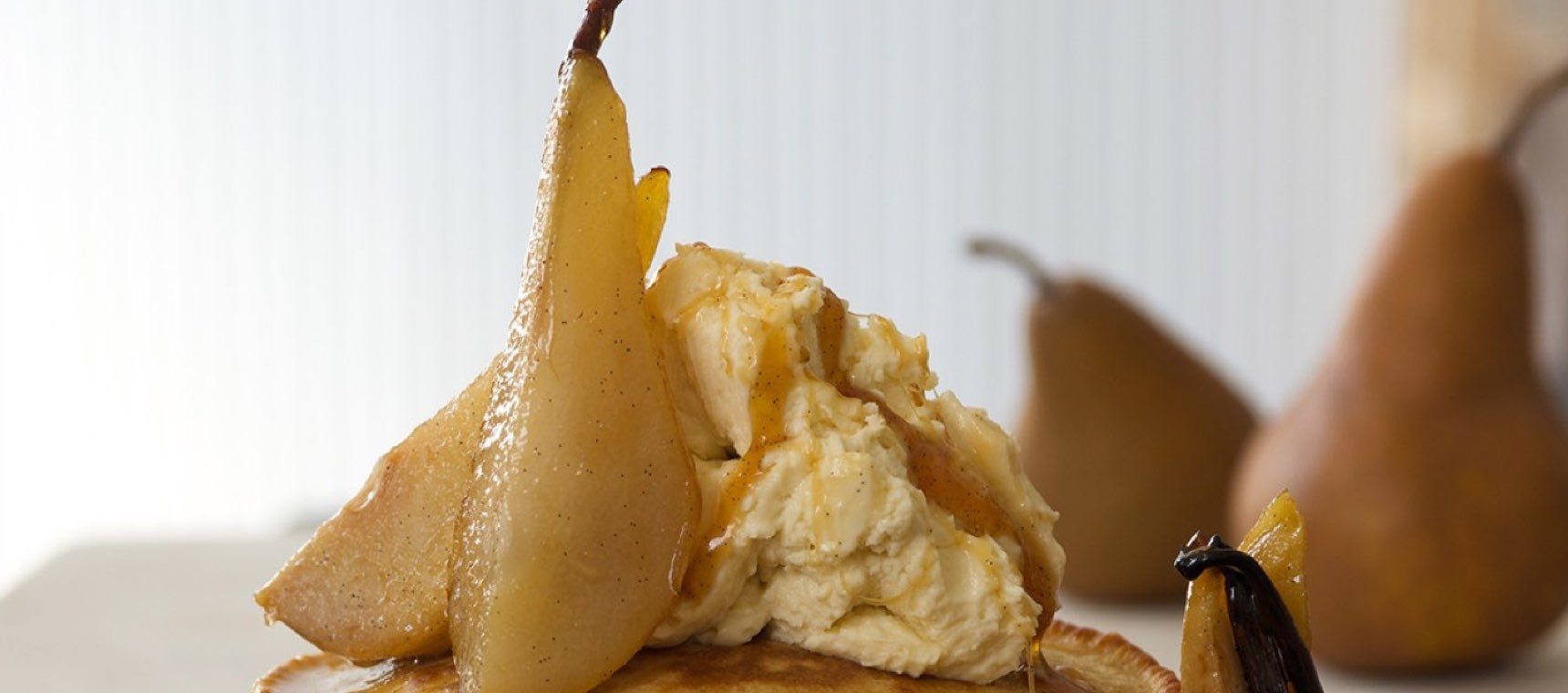 Honey Poached Pears with Honeyed Ricotta