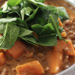 Indian Inspired Sweet Potato, Spinach and Lentil Stew