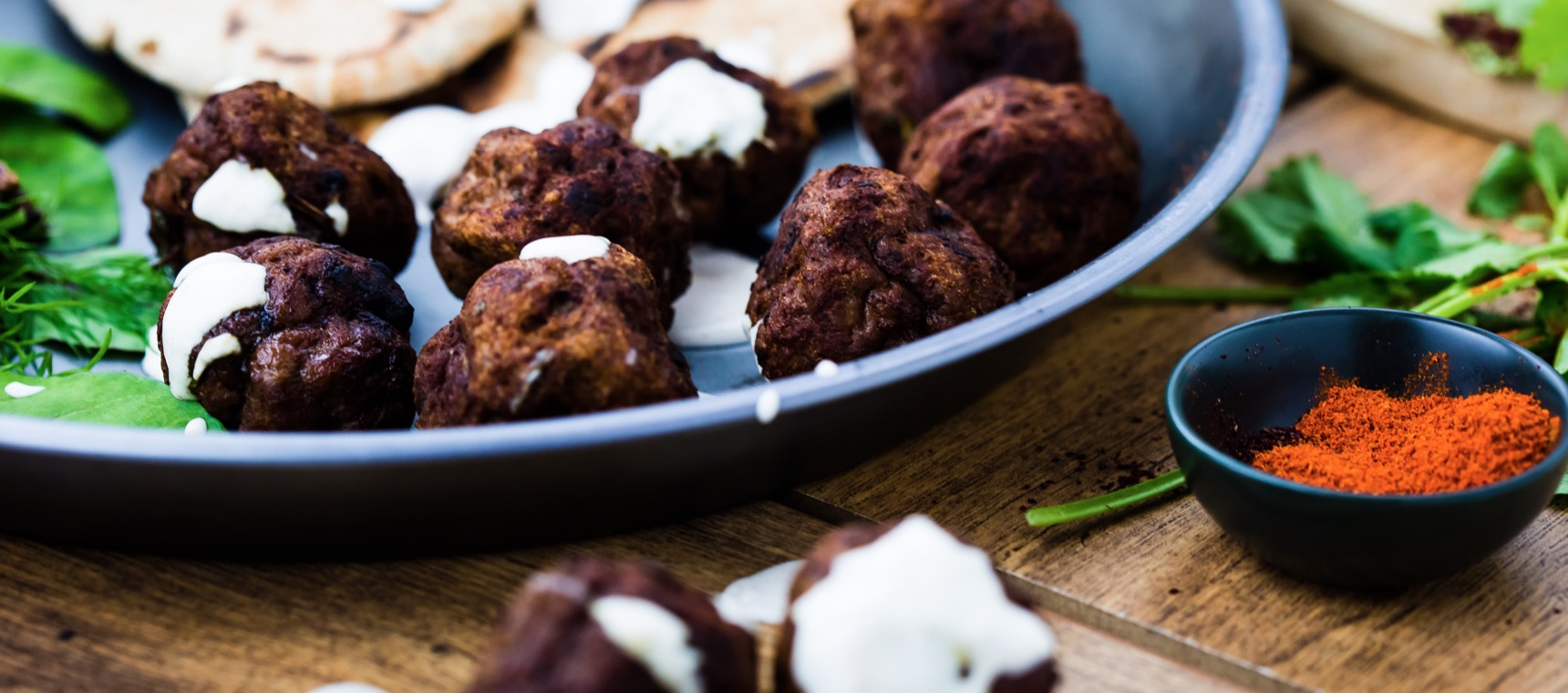 Indian Spiced Meatballs with Yoghurt Dip