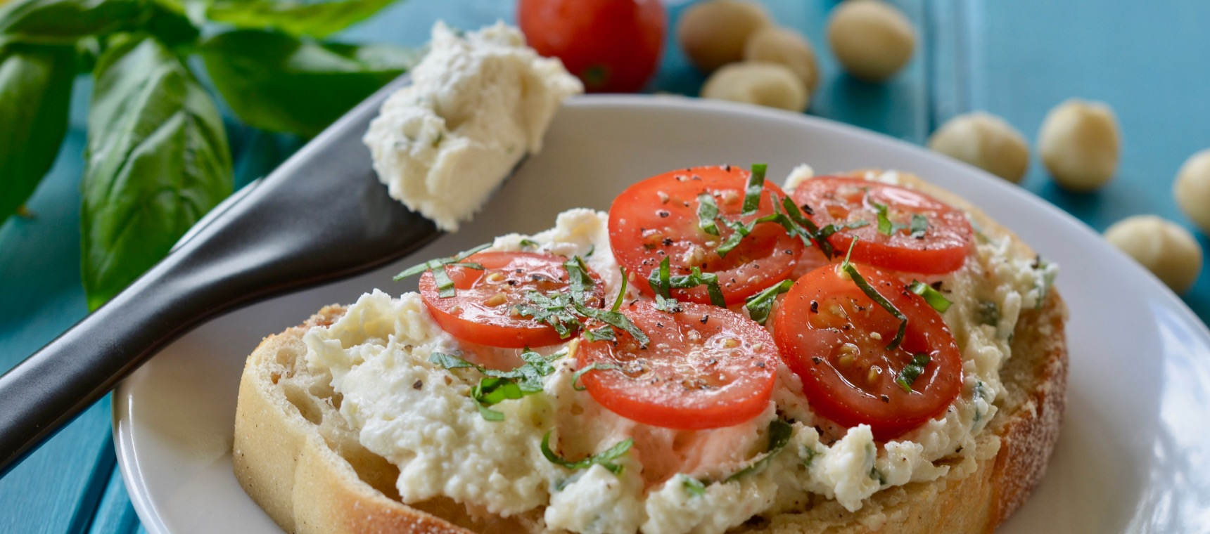 Macadamia Ricotta and Tomato Toast