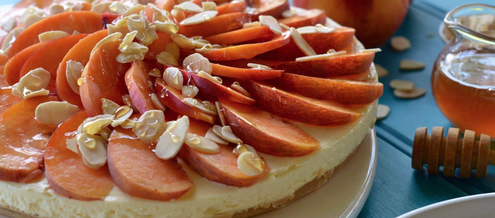 Nectarine, Almond and Honey Cheesecake