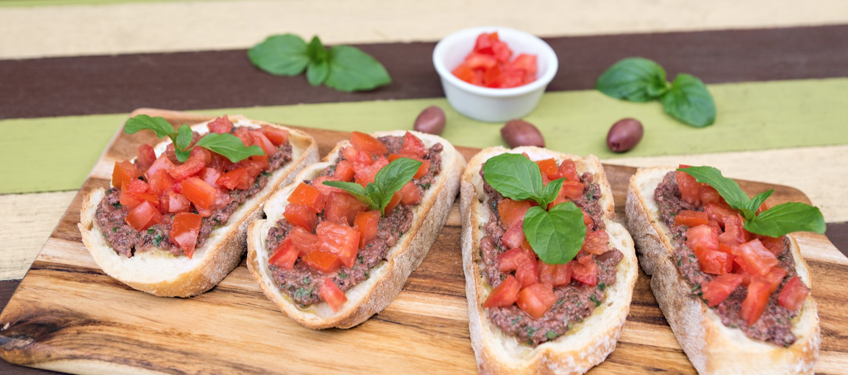 Olive, Basil and Tomato Bruschetta