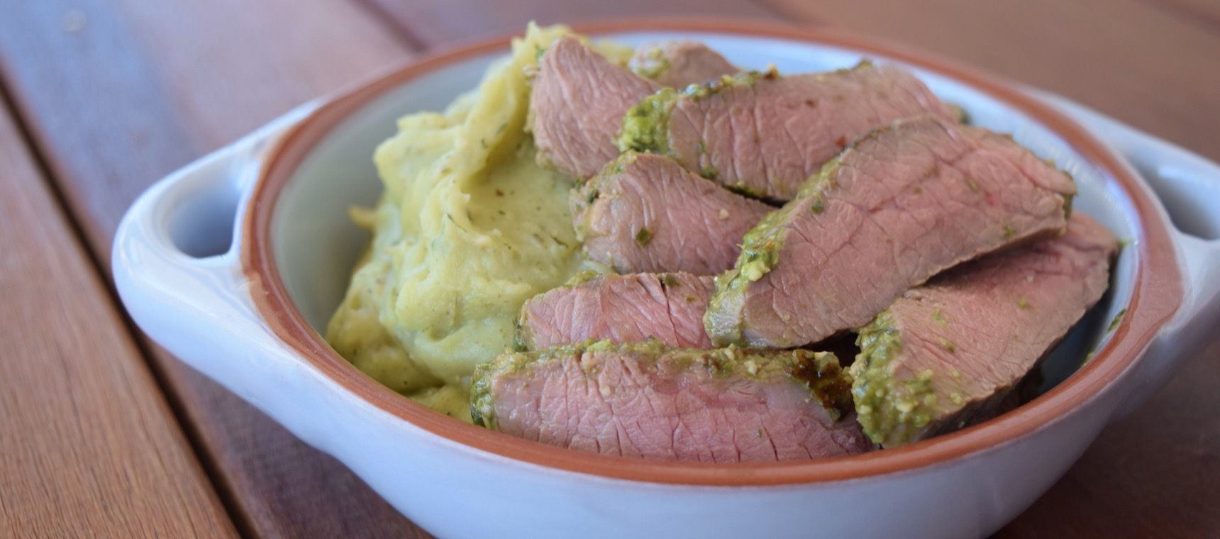 Pesto Lamb Steaks with Pesto Mash