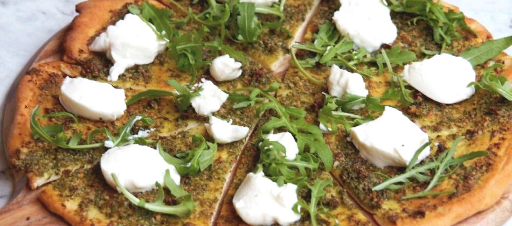 Pesto, Ricotta and Rocket Pizza