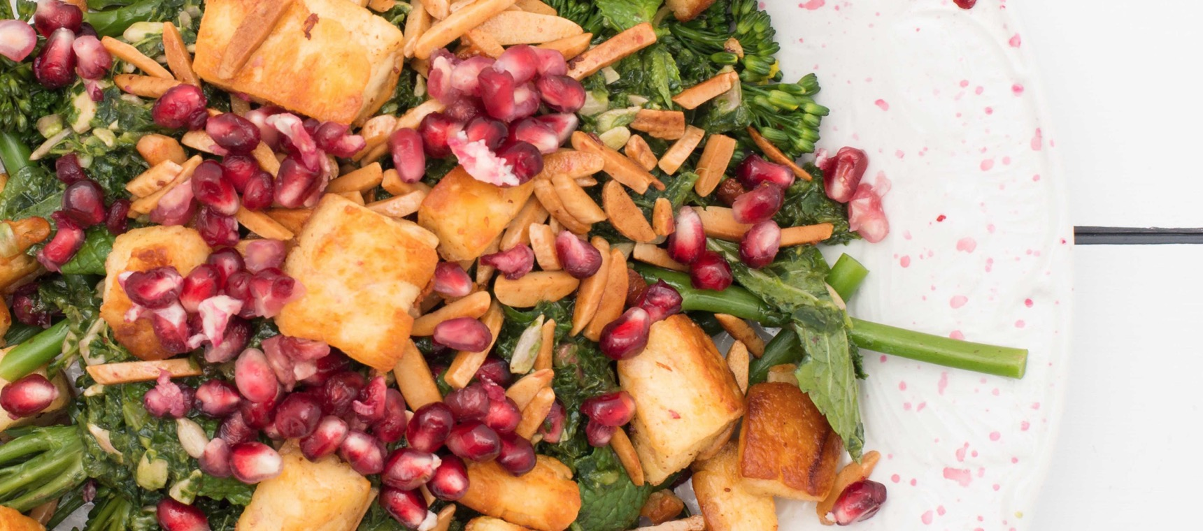 Pomegranate & Kale Salad with Haloumi