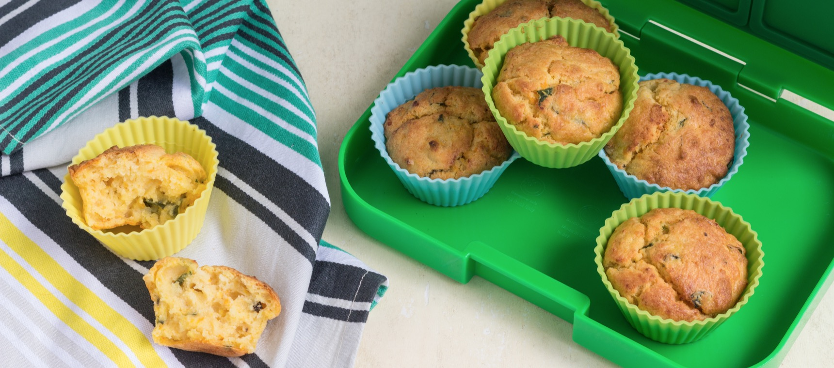 Pumpkin, Spinach and Feta Lunchbox Muffins – The 4 Blades