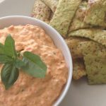 Roasted Capsicum Dip with Spinach Crackers