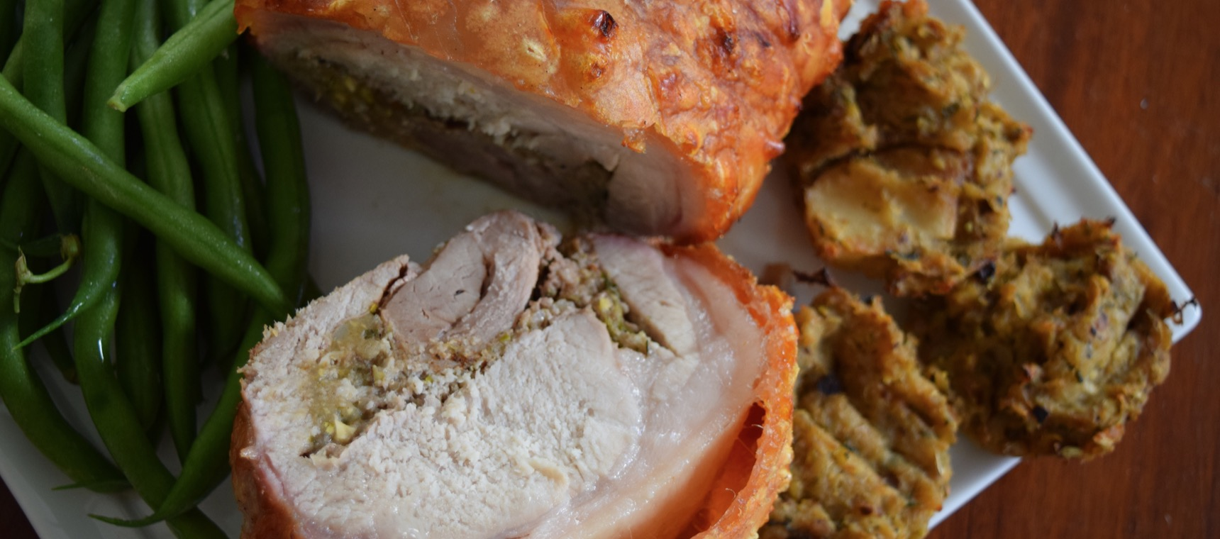 Rolled Roast Pork with Apple, Pear & Pistachio Grainfree Stuffing