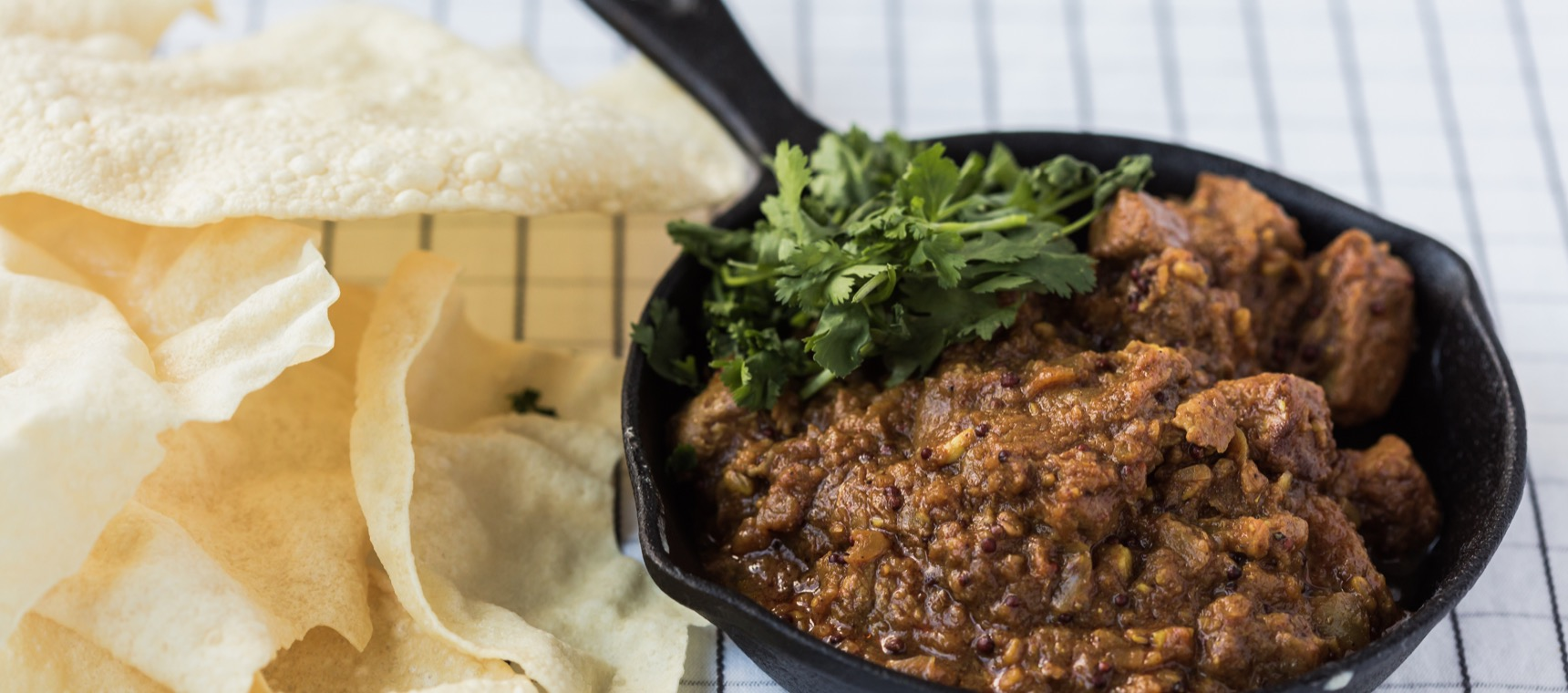 Slow Cooked Lamb Curry with Pappadums