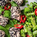 Steamed Sesame Salmon Bites with Asparagus Salad