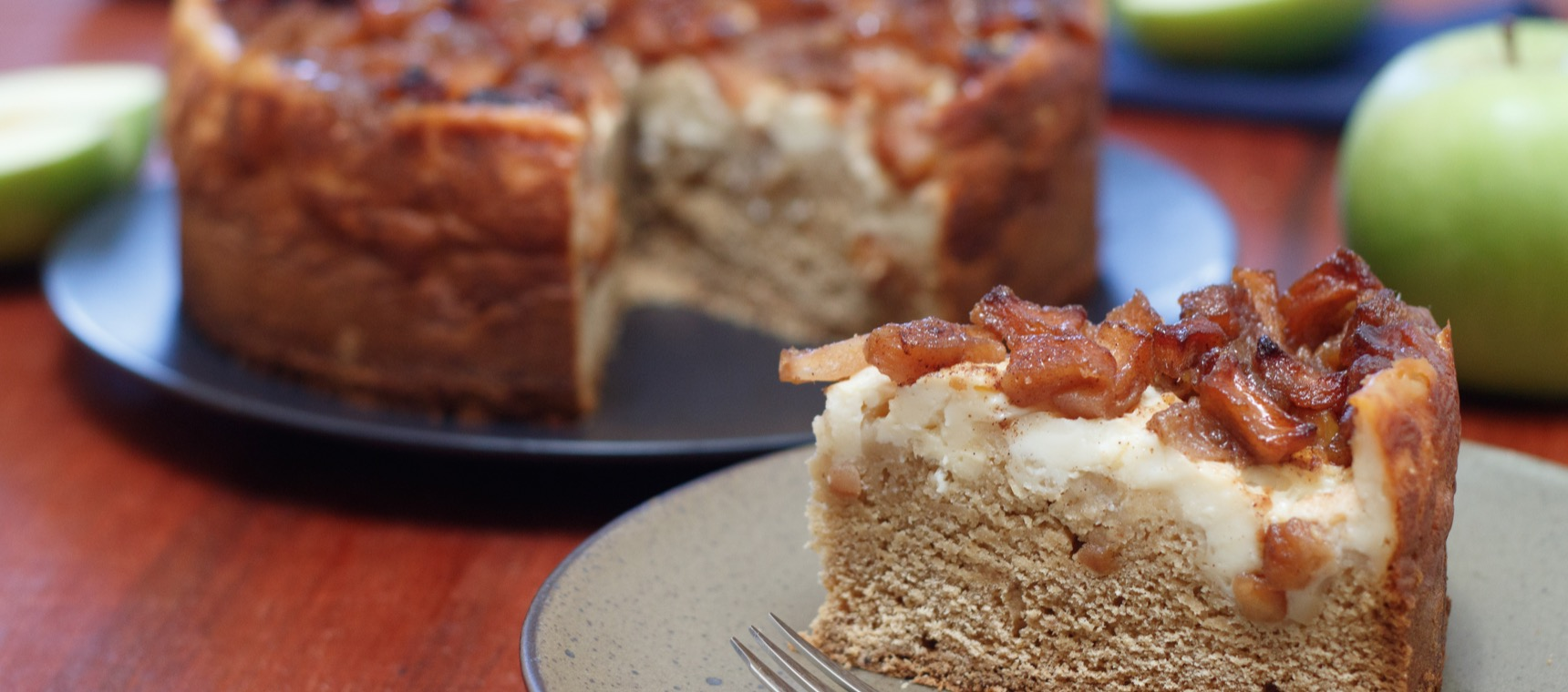 Stewed Apple Custard Tea Cake