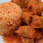 Sweet Curried Sausages and Paprika Rice