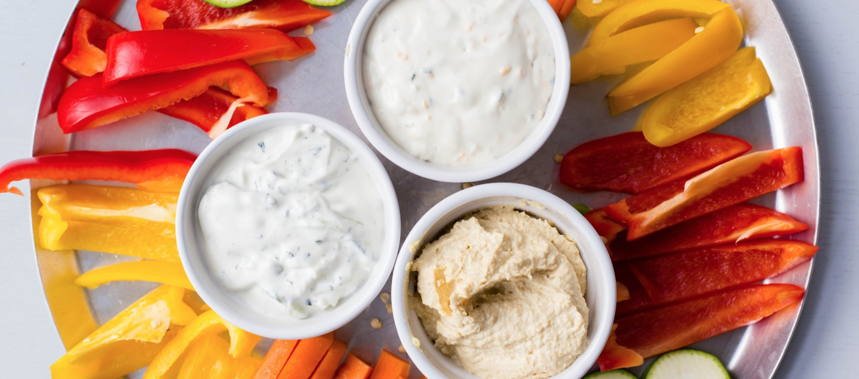 Trio of Dips with Veggie Sticks