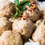 Veggie Balls with Rice and Curry Sauce