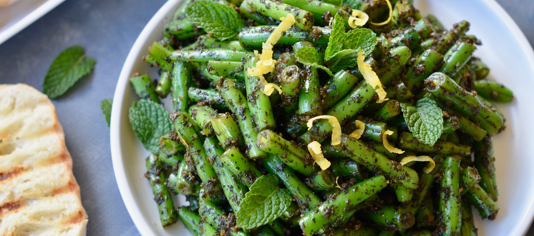 Warm Lemon and Mint Green Bean Salad