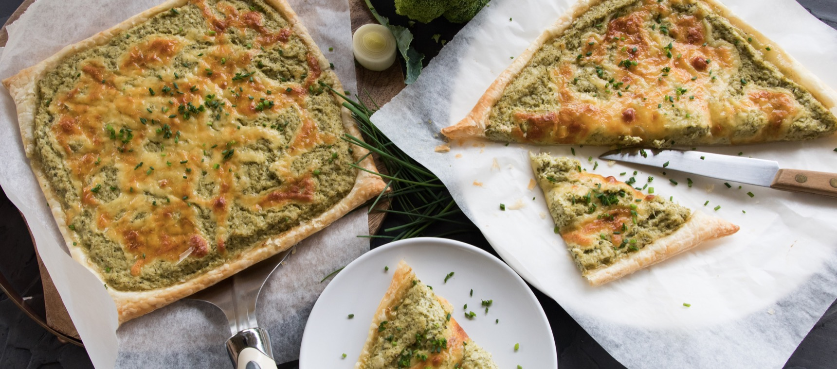 Cheesy Leek and Broccoli Open Tart