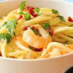 Creamy Garlic Prawns and Sun Dried Tomato Spaghetti