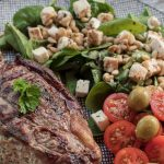 Feta and Spinach Stuffed Sirloin Steaks and Spinach Salad