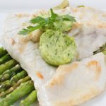 Grilled Barramundi with Lemon Butter and Asparagus