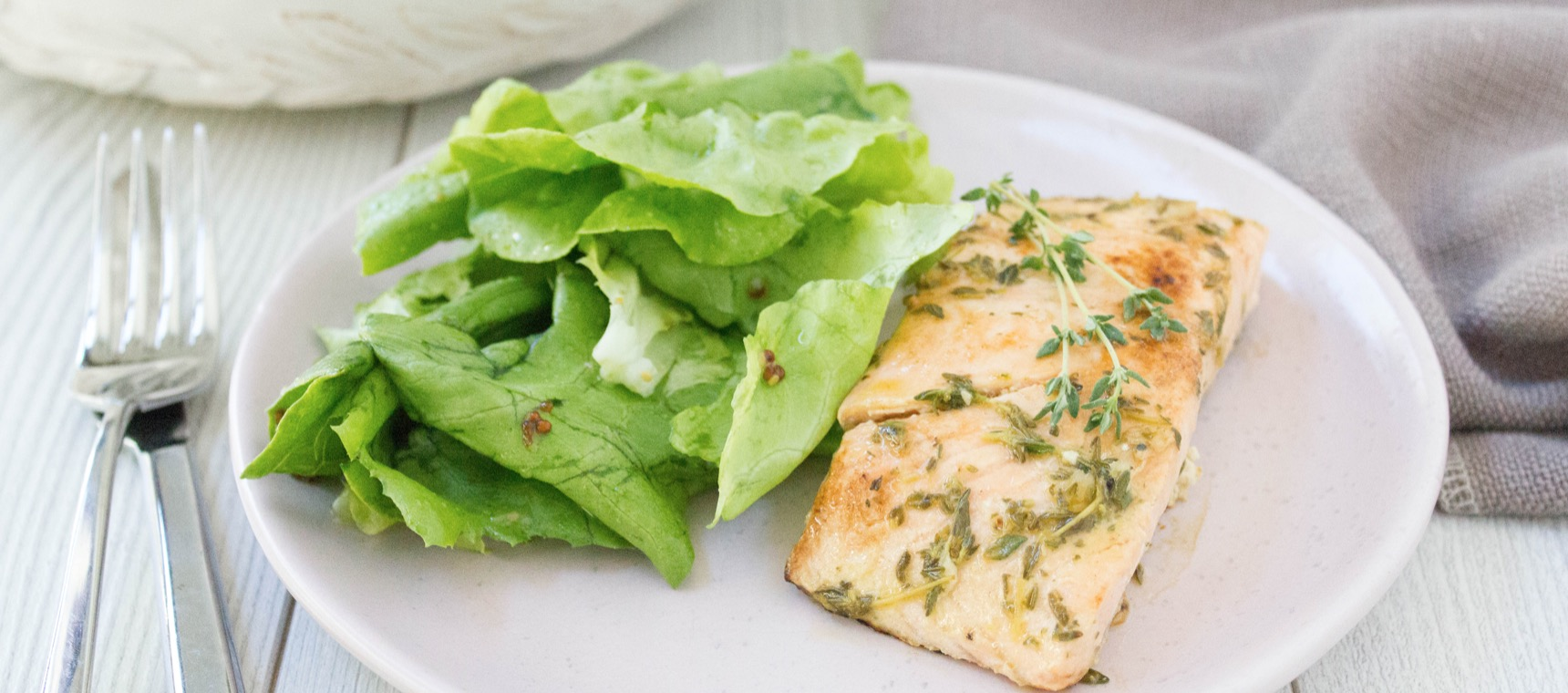 Grilled Garlic and Ginger Salmon with Summer Green Salad