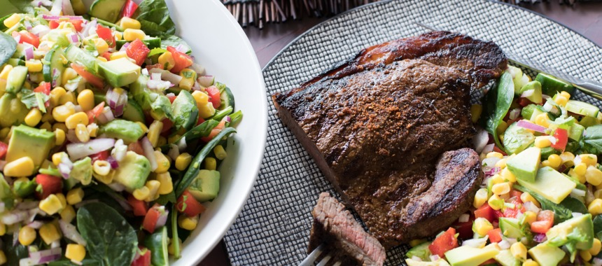 Grilled Mexican Beef Rump and Easy Corn Salad