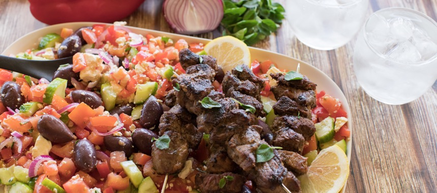 Quick Beef Souvlaki and Greek Salad