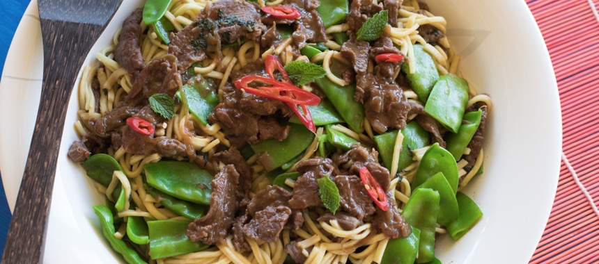 Stir Fried Chilli Lamb and Snow Peas