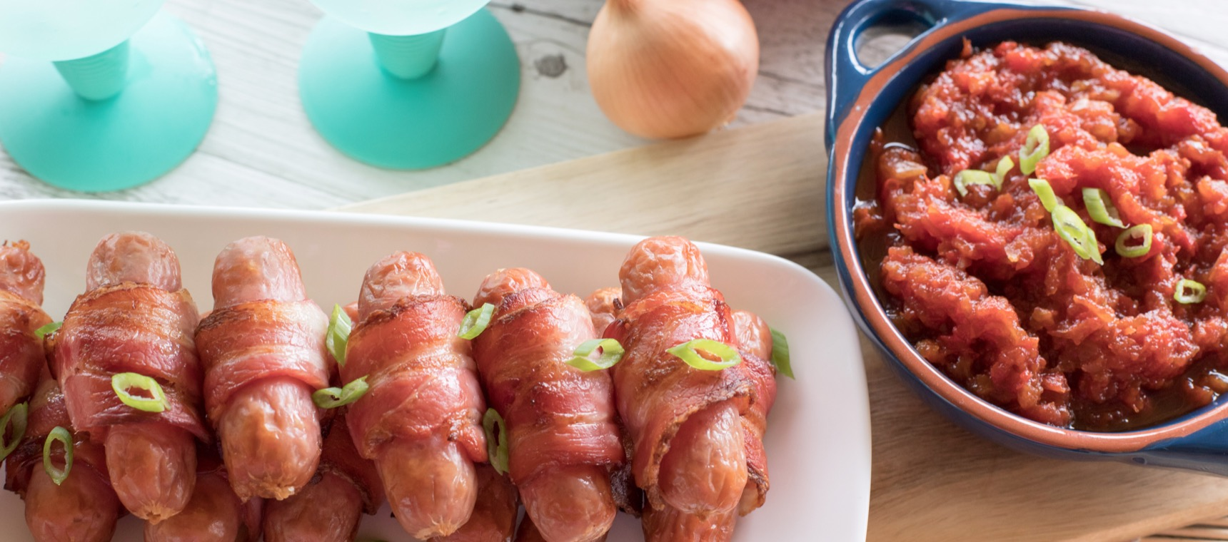 Bacon Wrapped Sausages with Dipping Sauce