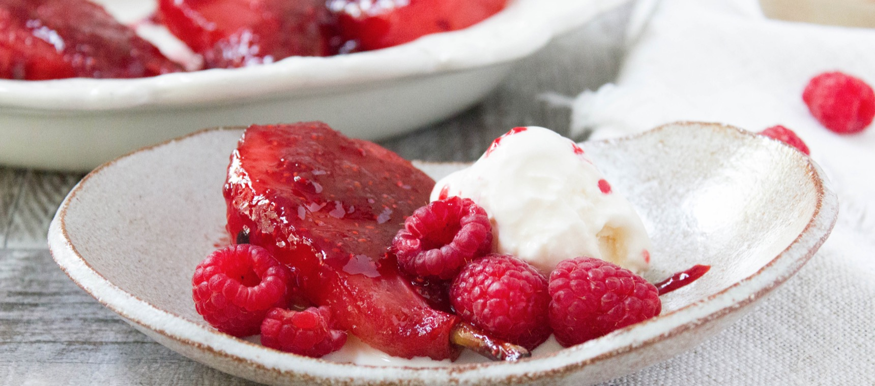 Baked Raspberry Poached Pears